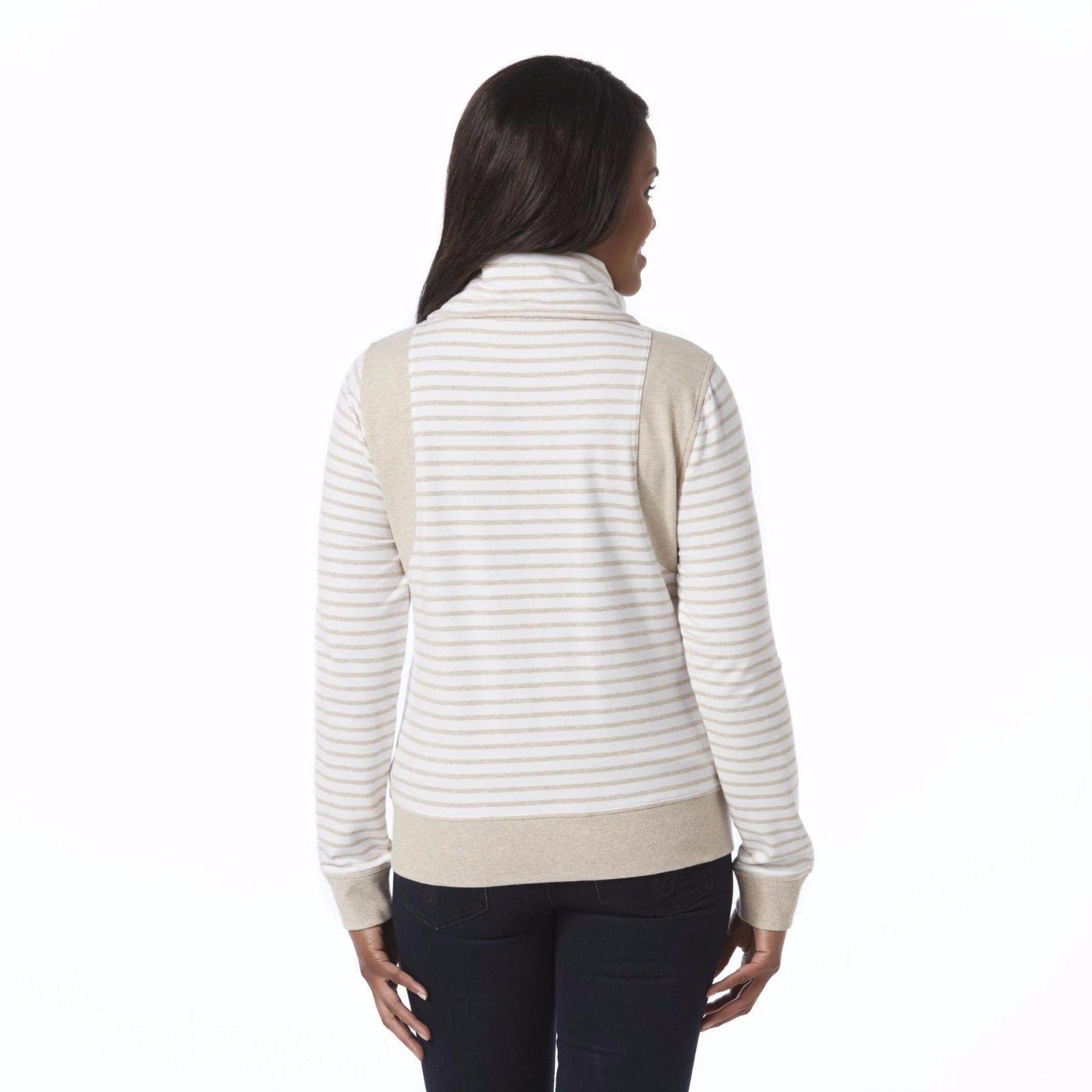 Women's Laura Scott Cowl Neck Striped Zipper Jacket Brown Sugar Size Large NEW