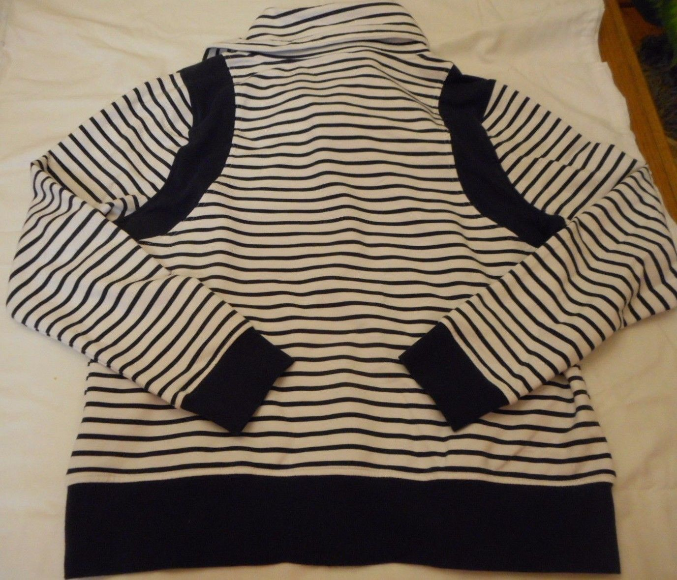 Women's Laura Scott Cowl Neck Striped Zipper Jacket Navy Size Large NEW