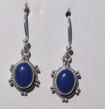 Earring Lapis Natural Oval Gemstone Earring Silver 925 Handmade 996 - $8.60