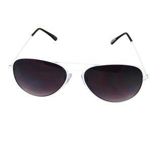 Aviator Sunglasses White Metal Frame Unisex with Nice Case