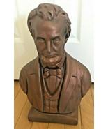 Rare Vintage Abe Abraham Lincoln Statue Bust Ceramic Plaster Bronze Colo... - $74.99