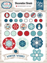 Echo Park - I Love Winter Decorative Brads, 30 brads/5 tags, Snow - $4.99