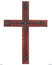 Striking Pine Wood and Iron Decorative Wall Cross - $49.00
