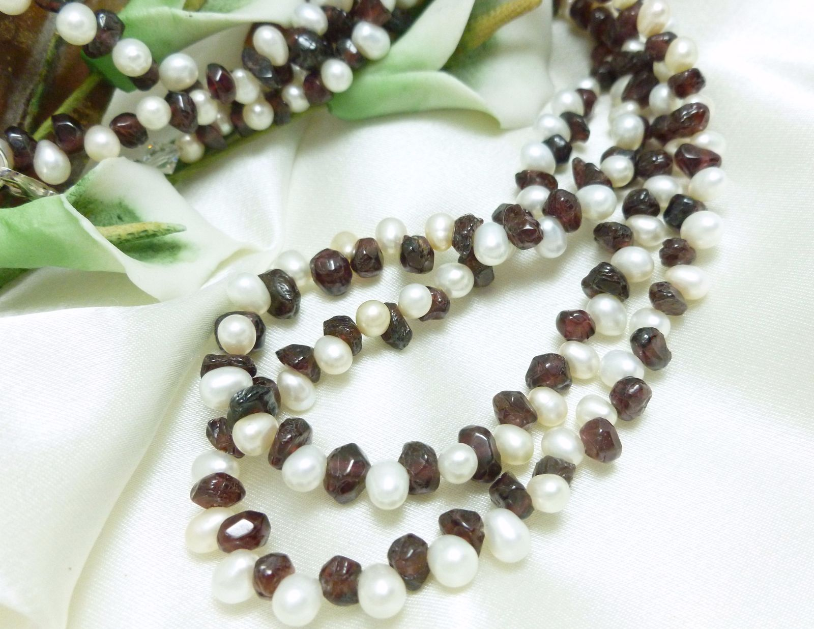 White Freshwater Pearl Garnet Gemstone Nugget Long Necklace 41 Inch