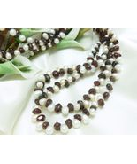 White Freshwater Pearl Garnet Gemstone Nugget Long Necklace 41 Inch - $35.00