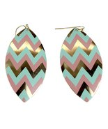 Zigzag Dangling Shield Earrings, Chevron Print, Pink and Mint - $9.99