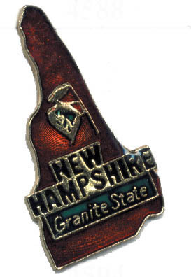 12 State Pins - NEW HAMPSHIRE , hat lapel pin #4594