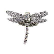 Large Crystal Encrusted Dragonfly Ring with Stretchy Band - $8.99