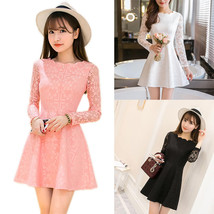 NEW Women Autumn Lace Long Sleeve Casual Party Evening Cocktail Short Mini Dress - $15.99