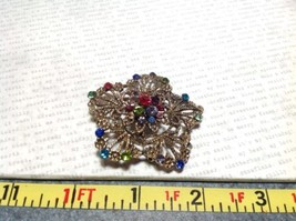 Gold Tone Multicolor Flower Brooch Pin Red Green Yellow With Swarovski Crystal image 5
