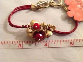 "NEW Geranium Gold Toned Bracelet Flowers Red Stones Multi Strand NWT 8"" image 5"