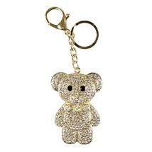Rhinestone Mr. Teddy B Purse Charm Keychain, Gold Ice - $9.99