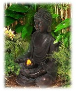 Meditating Buddha with Large Lotus Leaf Aged Faux Bronze Fountain - $283.35