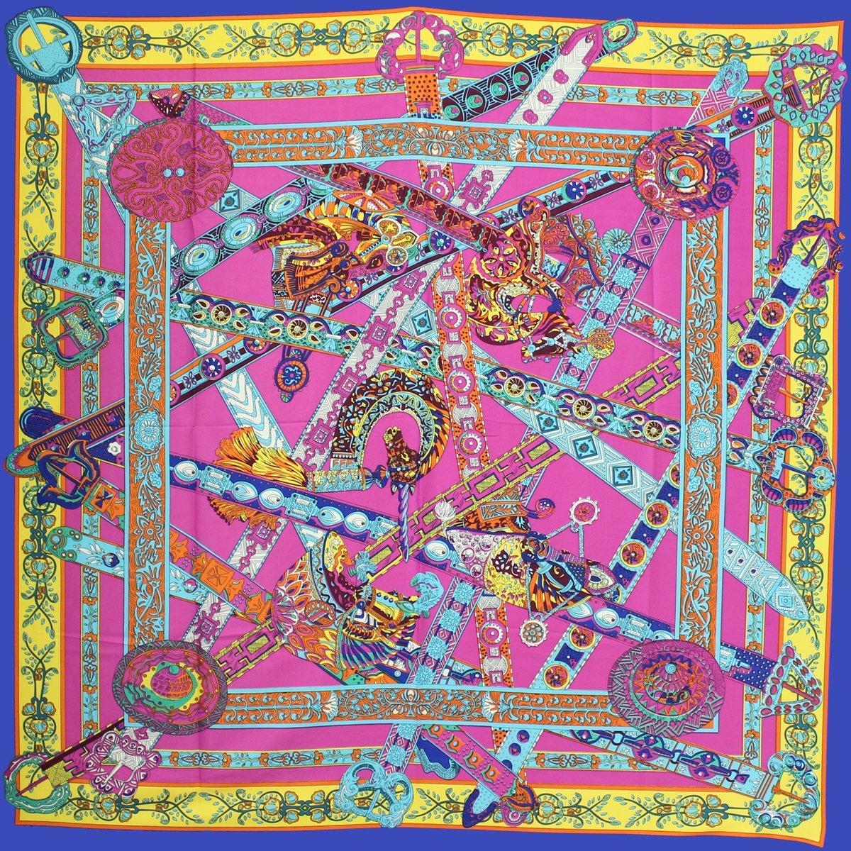 Designer Style Large Square Scarf Silk Like Premium Quality -Indian Fantasy, ...