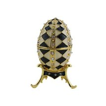 Egg Trinket Box with Stand Bejeweled Black White Diamond - $23.99