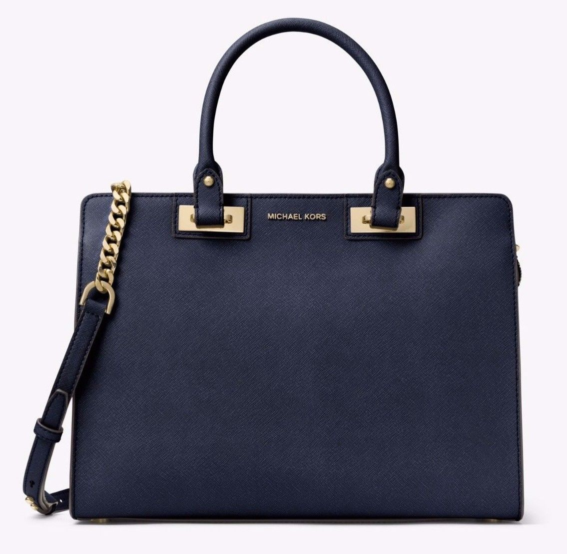 NWT MICHAEL MICHAEL KORS Quinn Large Saffiano Leather Satchel Navy $378