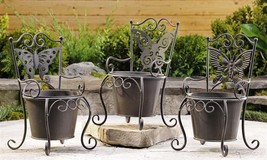 Set of 3 Steel Butterfly Design Planter Pots
