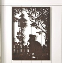 "31.9"" Rectangle Iron Cut-Out Cat & Birdhouse Design Plaque w Intricate Detailing"
