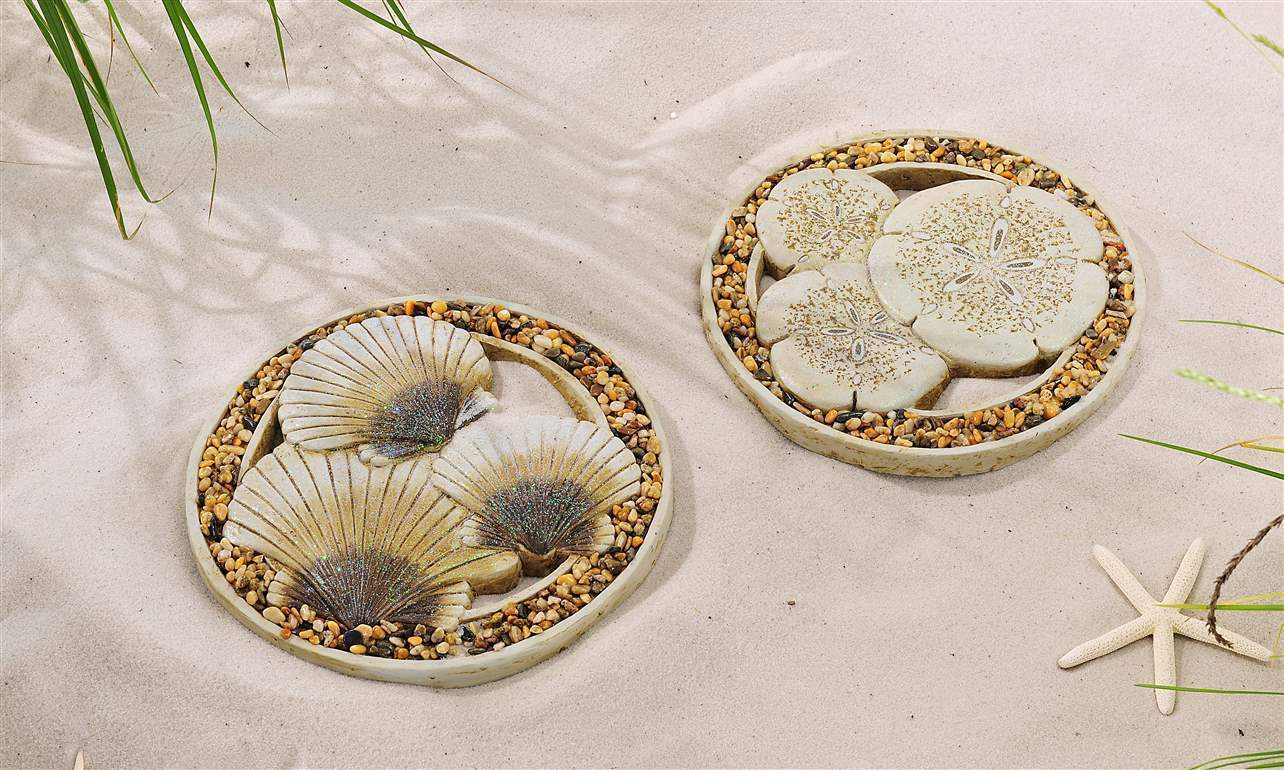 "Set of 2 - 11"" Cement Oceanic Design Stepping Stones w Sea Shells & Sand Dollars"