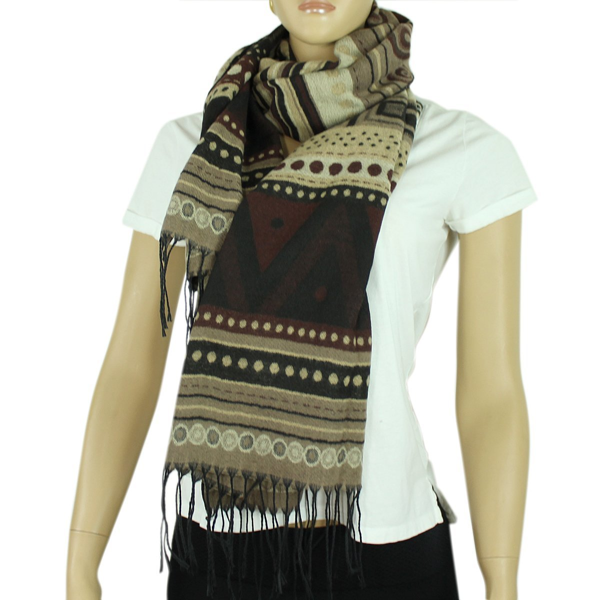 Aztec Scarf with Tassels, Brown and Beige