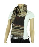 Aztec Scarf with Tassels, Brown and Beige - $9.99
