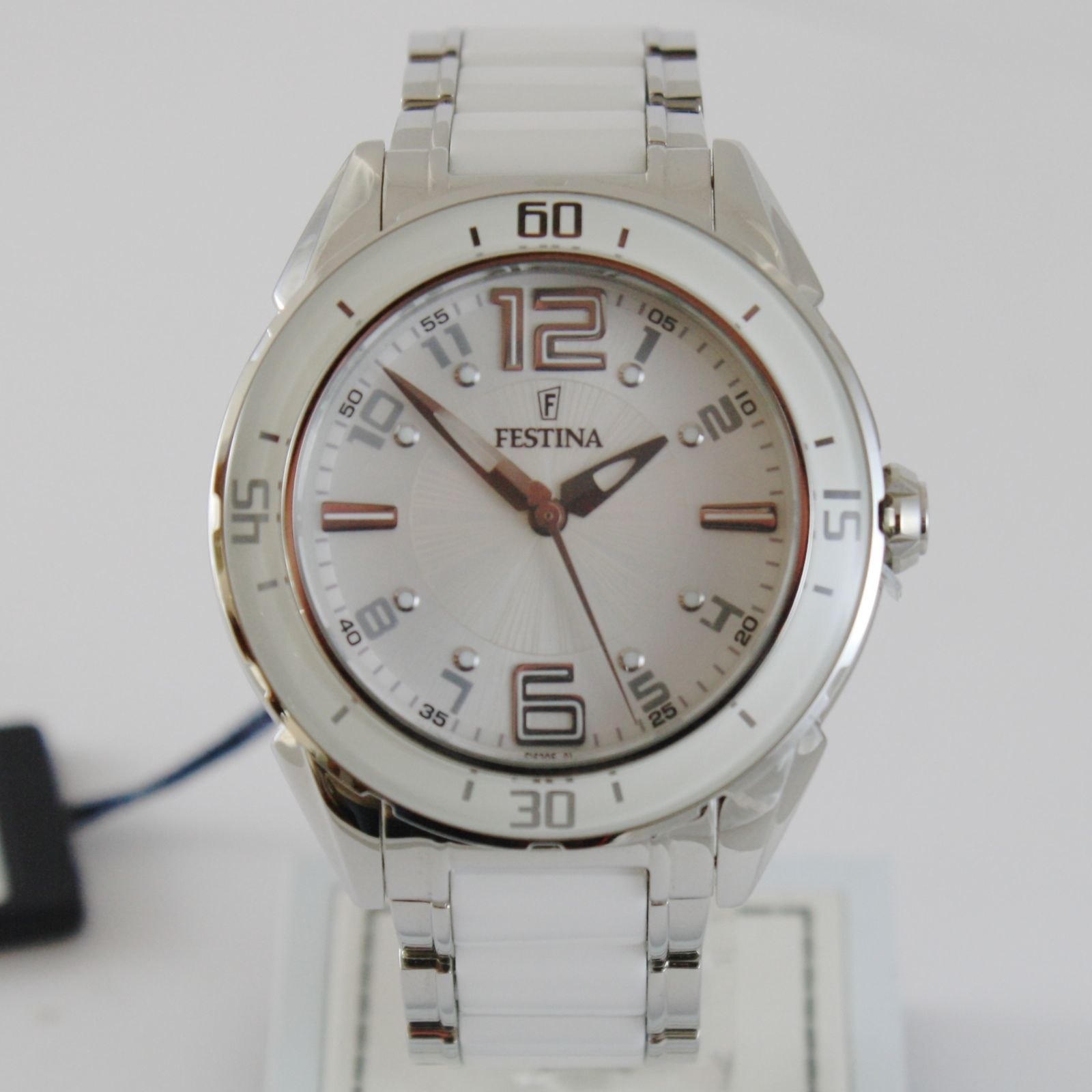 FESTINA WATCH QUARTZ MOVEMENT, 43 MM CASE, 3 ATM, WHITE FACE, WHITE CERAMIC