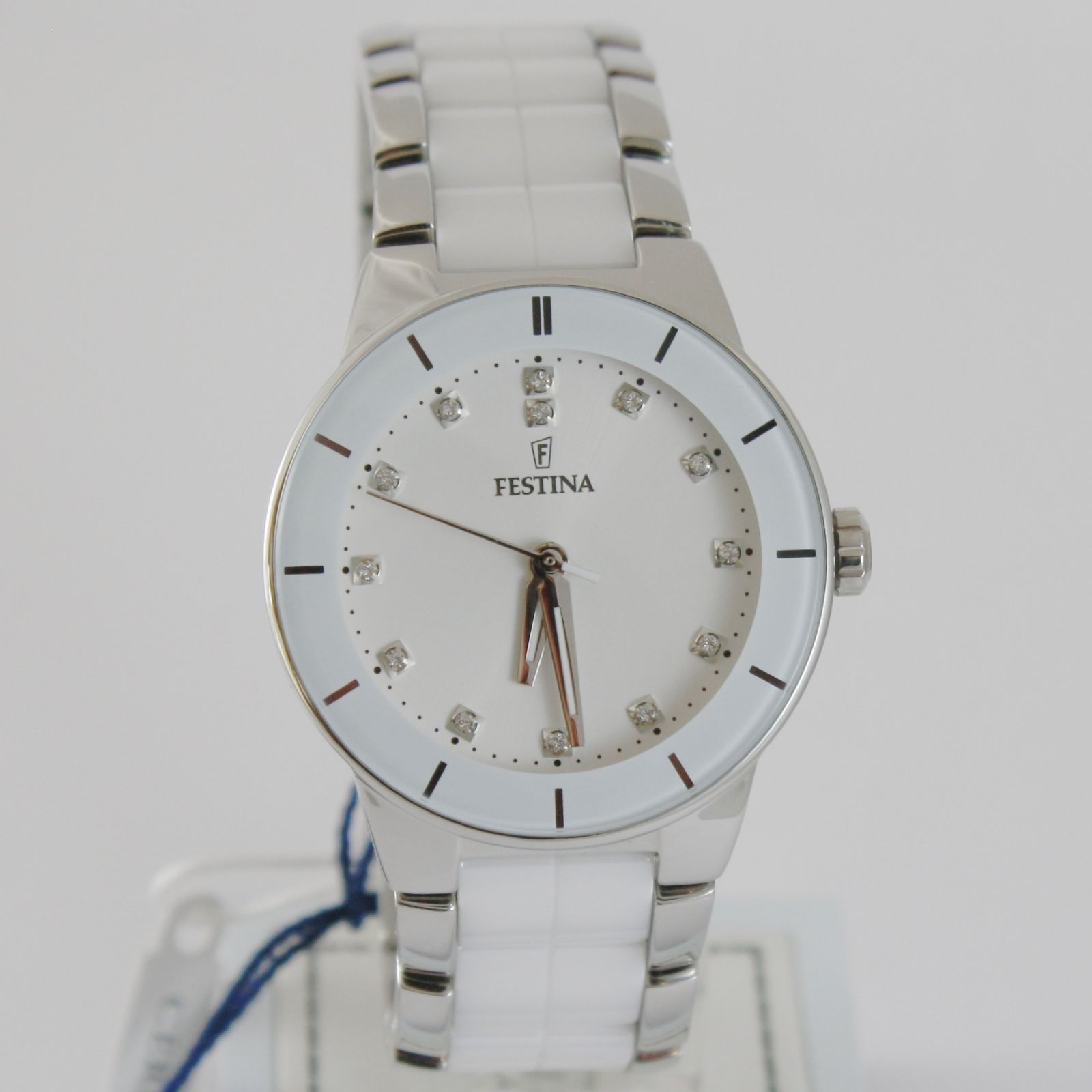 FESTINA WATCH QUARTZ MOVEMENT 35 MM CASE 5 ATM WHITE FACE WHITE CERAMIC ZIRCONIA