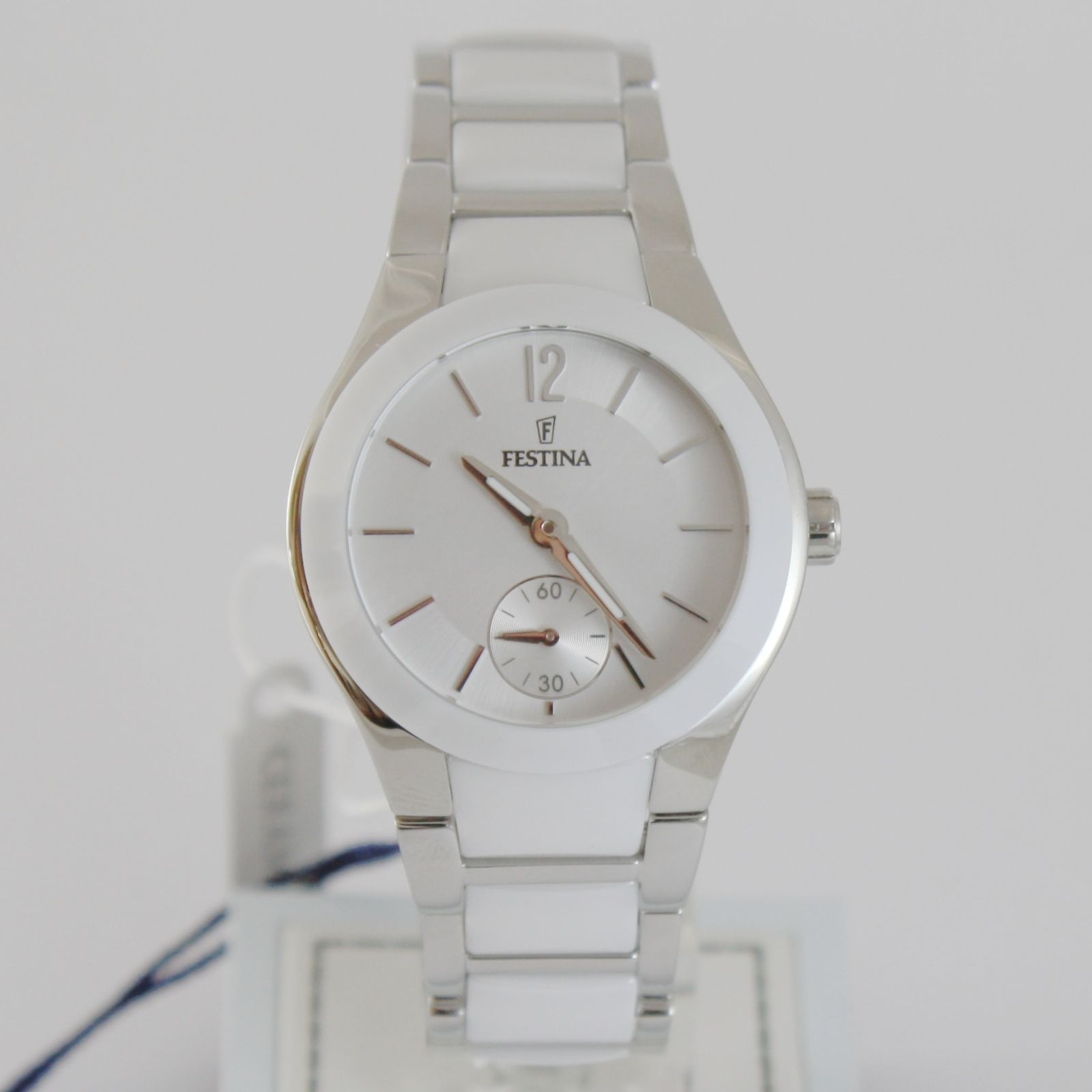 FESTINA WATCH QUARTZ MOVEMENT 33 MM CASE 5 ATM WHITE FACE WHITE CERAMIC BAND