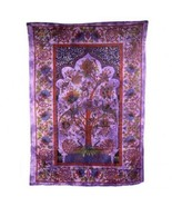 PAGAN/SPIRITUAL ICONIC TREE OF LIFE-PURPLE Indian wall hanging/DOUBLE BE... - $47.78