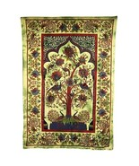 PAGAN/SPIRITUAL ICONIC TREE OF LIFE -GREEN Indian wall hanging/DOUBLE BE... - $47.78