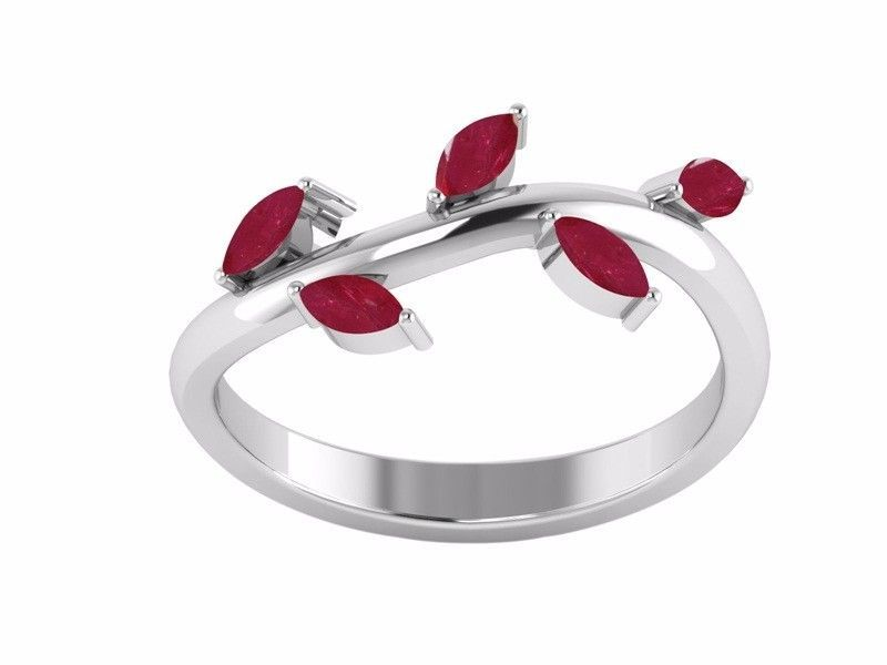 New Handmade Leaf Designer Women Ring with Indian Ruby Stone Ring Sz 7 SHRI1279