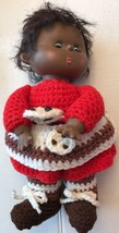 "Black Santa Baby Girl Doll 1970 Era 11"" Hand Crochet Dress Bloomers - $60.73"