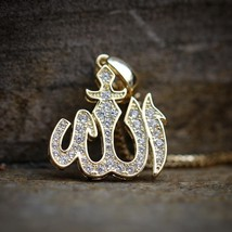 Mens Gold Iced Out Allah Sign Pendant Charm Necklace - $28.04