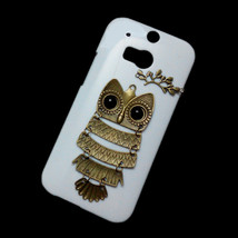 3D Cute Retro Metal Bronze Owl Branch Hard Back Skin Case Cover for HTC One M8 - $7.99