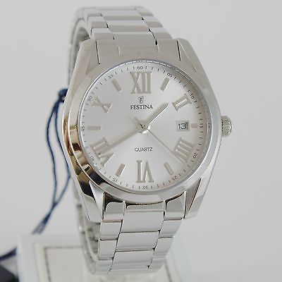 FESTINA WATCH QUARTZ MOVEMENT 38 MM CASE, 5 ATM, WHITE FACE, ROMAN NUMBERS, DATE