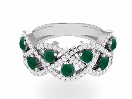 Fashionable Looking Jewelry Emerald Gemstone 925 Sterling Ring Sz 7.5 SH... - $27.29
