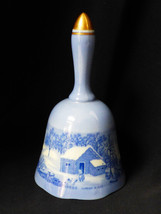 VTG Currier & Ives Copenhagen Bells Series Blue White Bell Home in Wilde... - $21.04