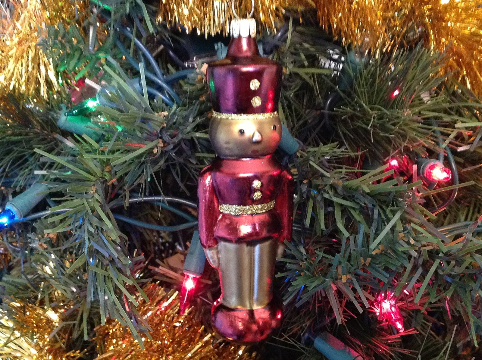 Red and Gold Toy Soldier Nutcracker Petite Gold and Brown Pinecone Hand Paint...