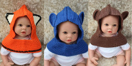 Handmade Fox Cowl Hat Scarf Baby Knit Crochet Hat Photo Prop 0-4 Year X-... - $12.99