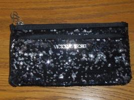 Victoria's Secret Black Sequin Bling Reversible Clutch Purse 2012 Makeup Bag  - $25.00