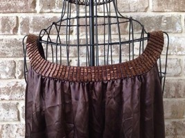 BCBG Max Azria L Sleeveless Top Brown Copper Embellished Beads Front Bac... - $33.94