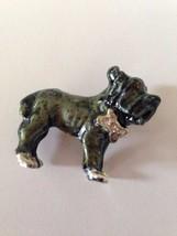 French Bulldog Pendant Pin Jewelry Topaz Stone Eyes Clear Stone Bow New ... - $16.48