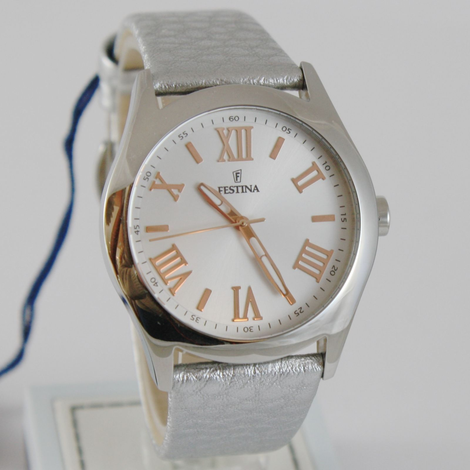 FESTINA WATCH QUARTZ MOVEMENT 38 MM CASE, 5 ATM, WHITE FACE, SILVER LEATHER BAND