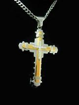 Huge silver cross necklace cz center Modernist mens womens Cross womens ... - $125.00