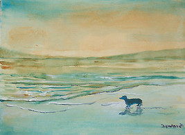 ORIGINAL ACEO Dog Art Seascape Print -: rdoward fine art - $5.94