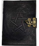 """PENTACLE BLACK LEATHER BLANK BOOK    5"""" x 7""""""""  STAR 168 Pgs. - $26.50"""