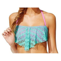 Hula Honey Crochet Flounce Bikini Top Women's Swimsuit, Small - $13.86
