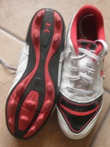 childrens youth soccer cleats under armour size 3.5 white black red - $24.36