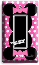 Minnie Mouse Ears Pink Polka Dots Gfci Light Switch Cover Girls Room Decoration - $8.09