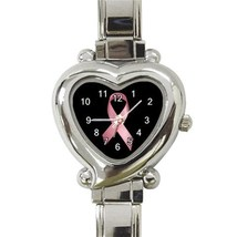 Ladies Heart Italian Charm Watch Breast Cancer Ribbon Pink model 26021790 - $11.99